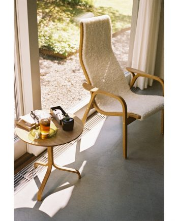 Swedese Lamino Table in Oak with Lamino Highback easy chair in White sheepskin