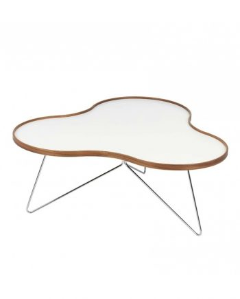 Swedese Flower Table in White laminate with Walnut