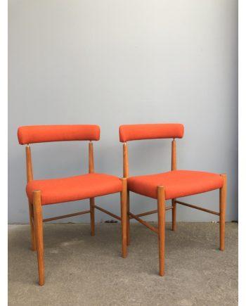 Danish Vintage Dining Chairs   Set of 2 in Teak   Wool/Alpaca upholstery